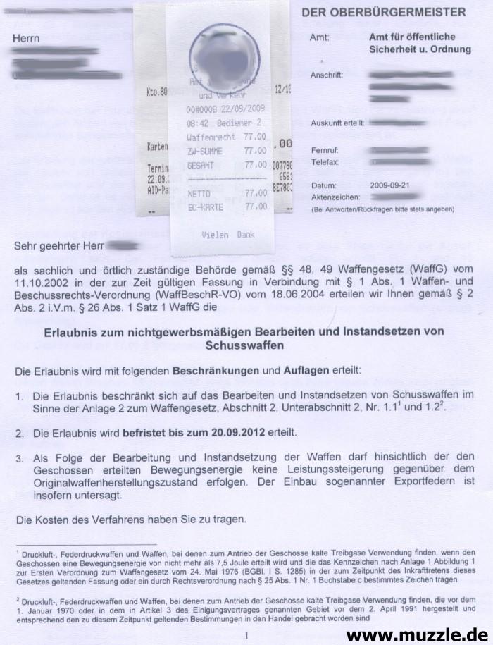 waffen überlassungs formular